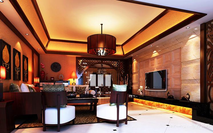大户型神奇热带东南亚风格客厅吊顶电视背景墙装修效果图