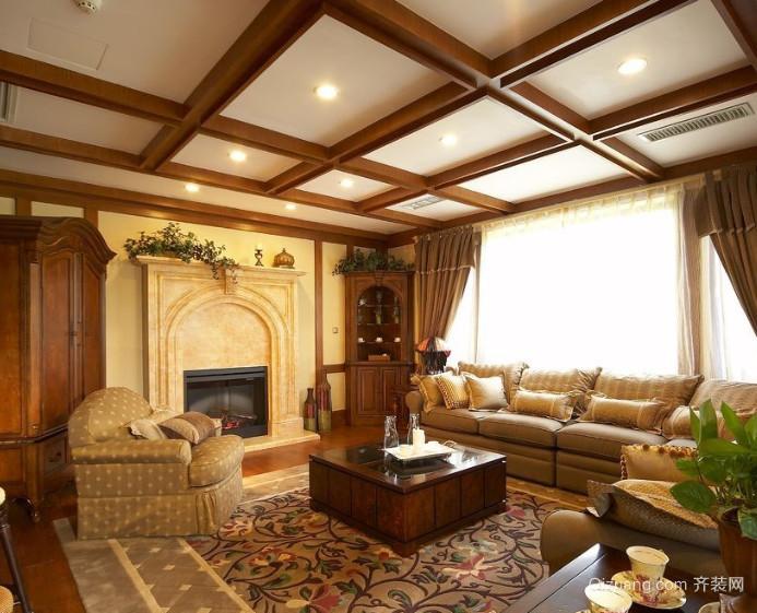 70平米美式古典客厅装修装修图