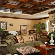 田园色调客厅吊顶设计