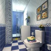 蓝白色简约风格卫生间背景墙装饰