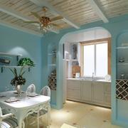 地中海简约风格餐厅原木吊顶装饰