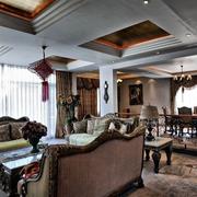 美式风格客厅石膏板吊顶装饰