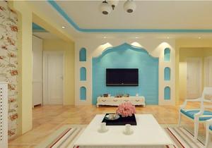 单身公寓创意地中海风格客厅电视背景墙装修效果图