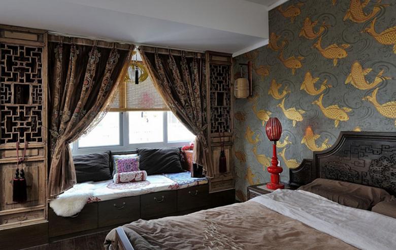 两居室 中式风格飘窗窗帘 设计装修效果图 齐装