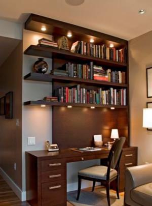 中式简约原木深色书房置物架装饰