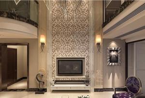 浪漫的法式别墅客厅电视背景墙装修效果图