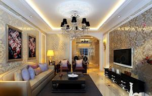 三居室欧式风格电视背景墙装修效果图