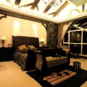 后现代风格深色系卧室吊顶装饰