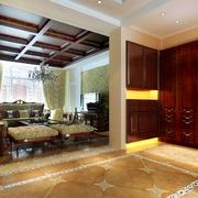 中式风格深色系玄关鞋柜装饰