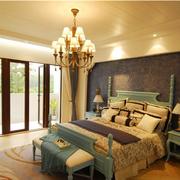 地中海风格纯色系卧室壁纸装饰
