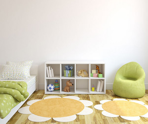 二居室简约时尚儿童卧室背景墙装修效果图