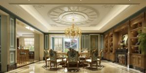 法式餐厅圆形吊顶装饰