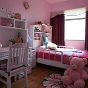 欧式简约粉色系儿童房背景墙装饰