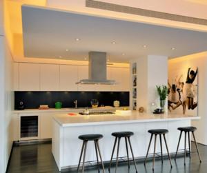 美式开放式厨房简约吧台装饰