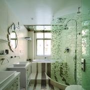 韩式清新风格浴室印花隔断装饰
