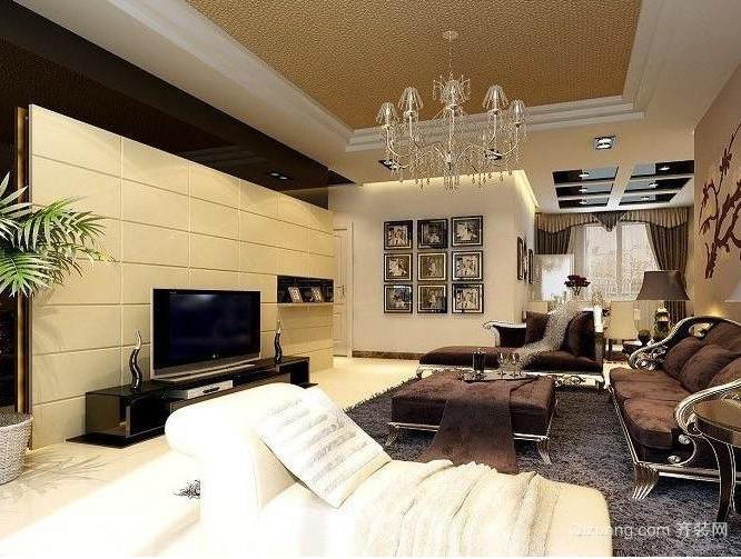 120平米大户型欧式经典客厅影视墙装修效果图