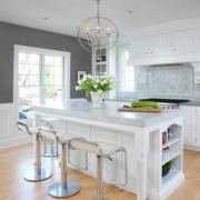 欧式简约风格纯白色厨房吧台装饰