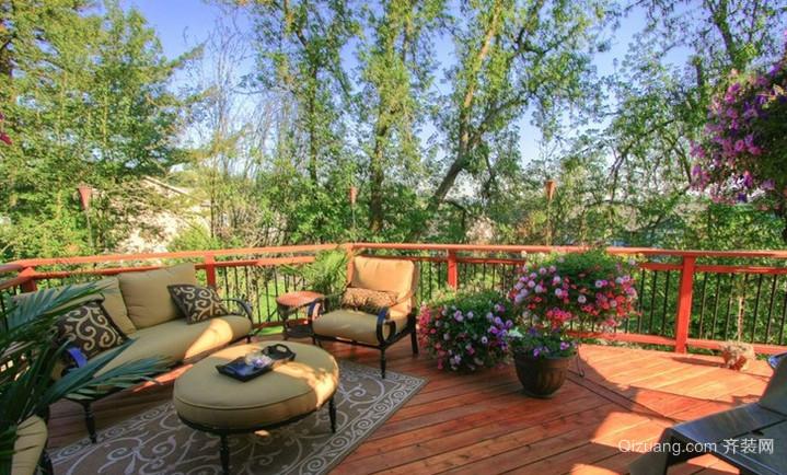 120平米朴素乡村风格阳台花园设计装修效果图