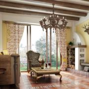 公寓欧式风格浅黄色电视背景墙装饰