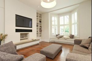 单身公寓现代欧式客厅飘窗装修效果图