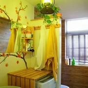 卫生间简约原木置物架装饰