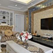 欧式复式楼简欧风格印花电视背景墙装饰