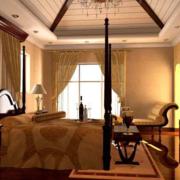 美式简约风格卧室石膏板吊顶装饰