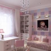 粉色系简约风格儿童房书柜装饰