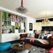 美式简约风格客厅整体书架装饰