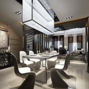 后现代风格简单餐厅背景墙装饰
