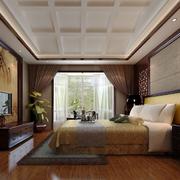 中式深色系卧室电视背景墙装饰