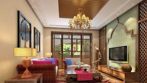 119平米东南亚风格客厅电视背景墙装修效果图