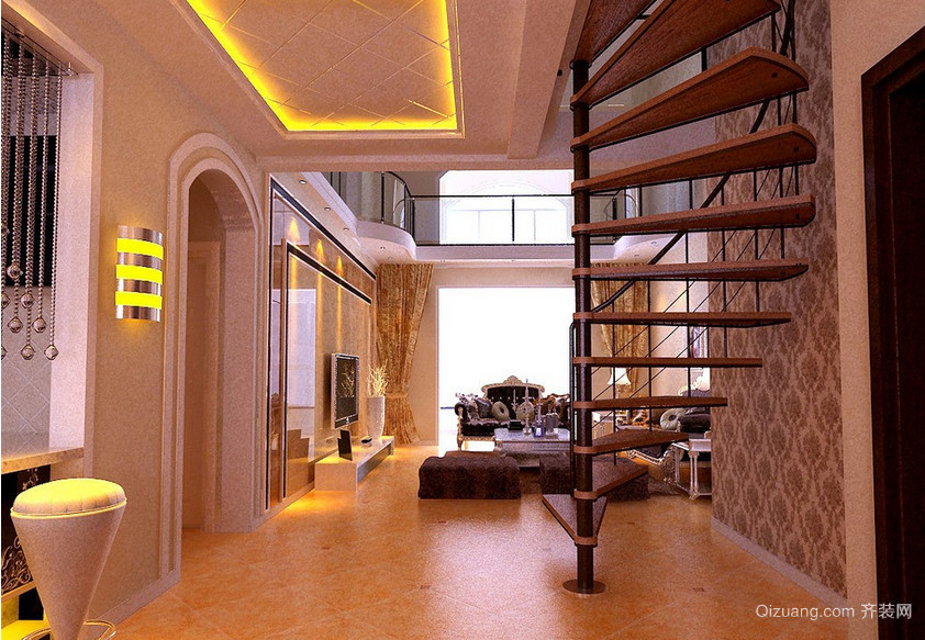 120㎡跃层美式风格客厅背景墙装修效果图