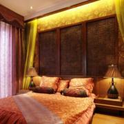 东南亚简约卧室床头背景墙装饰