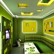 果绿色简约风格ktv背景墙装饰