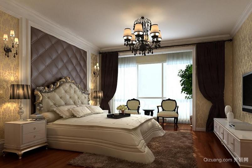 三室一厅法式风格卧室背景墙设计装修效果图