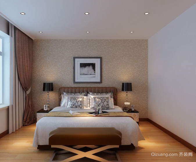 30平米现代简约风格卧室背景墙装修效果图