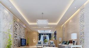 100平米两居室现代简约风格客厅电视背景墙装修效果图