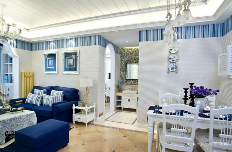 100㎡地中海风格餐厅背景墙装修效果图