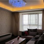 后现代风格客厅深色系飘窗装饰