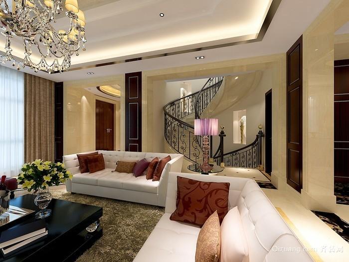 古典优雅大户型欧式客厅装修效果图