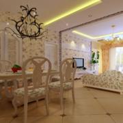 欧式客厅小碎花背景墙装饰
