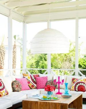 宜家风格阳台改造飘窗窗帘设计装修效果图