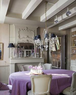 80平米时尚之居浪漫紫色田园风格装修效果图