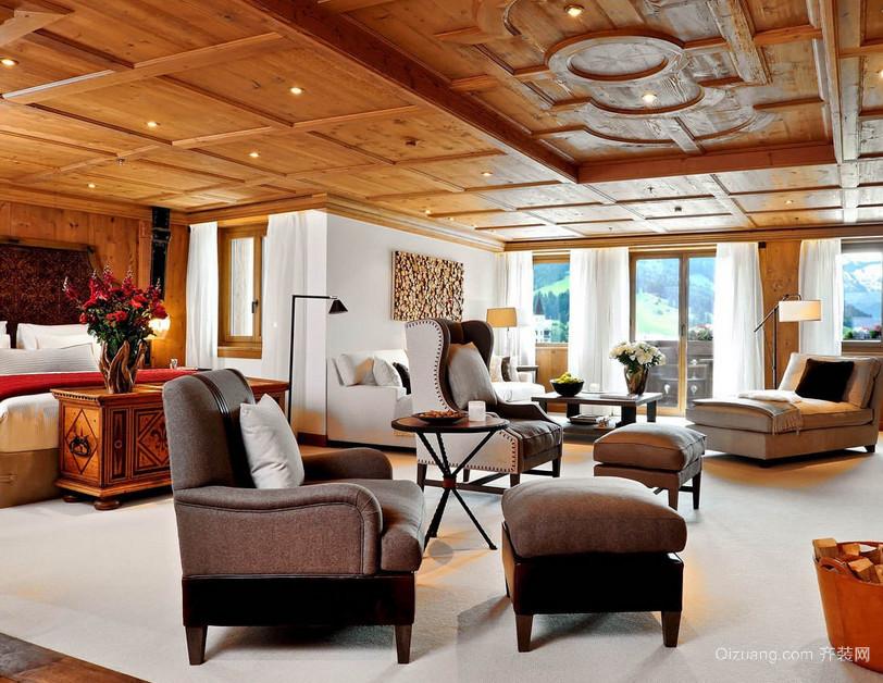 复式楼现代简约客厅生态木吊顶装修效果图