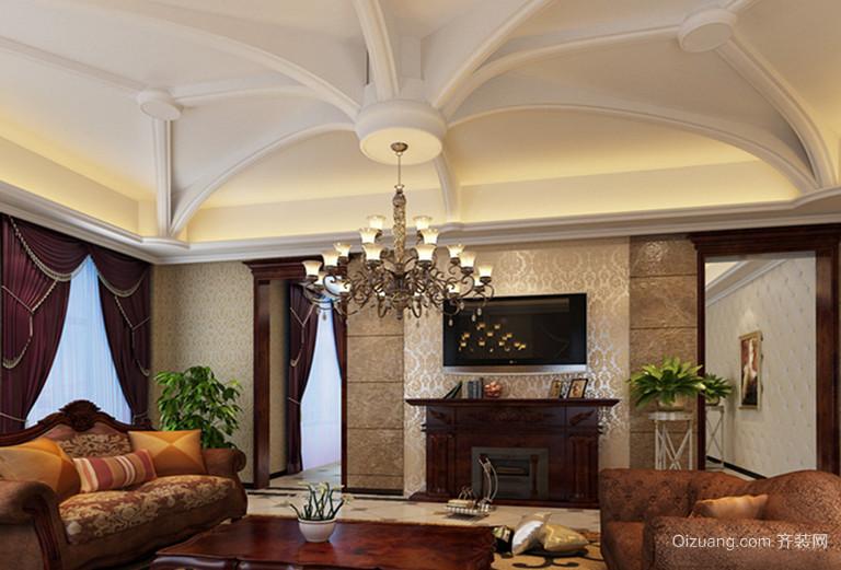 120平米美式客厅电视背景墙装修效果图