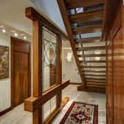 东南亚风格客厅原木隔断装饰