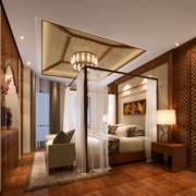 中式风格卧室原木吊顶装饰