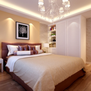 现代风格浅色系卧室背景墙装饰