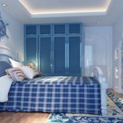 蓝白色清新卧室电视背景墙装饰